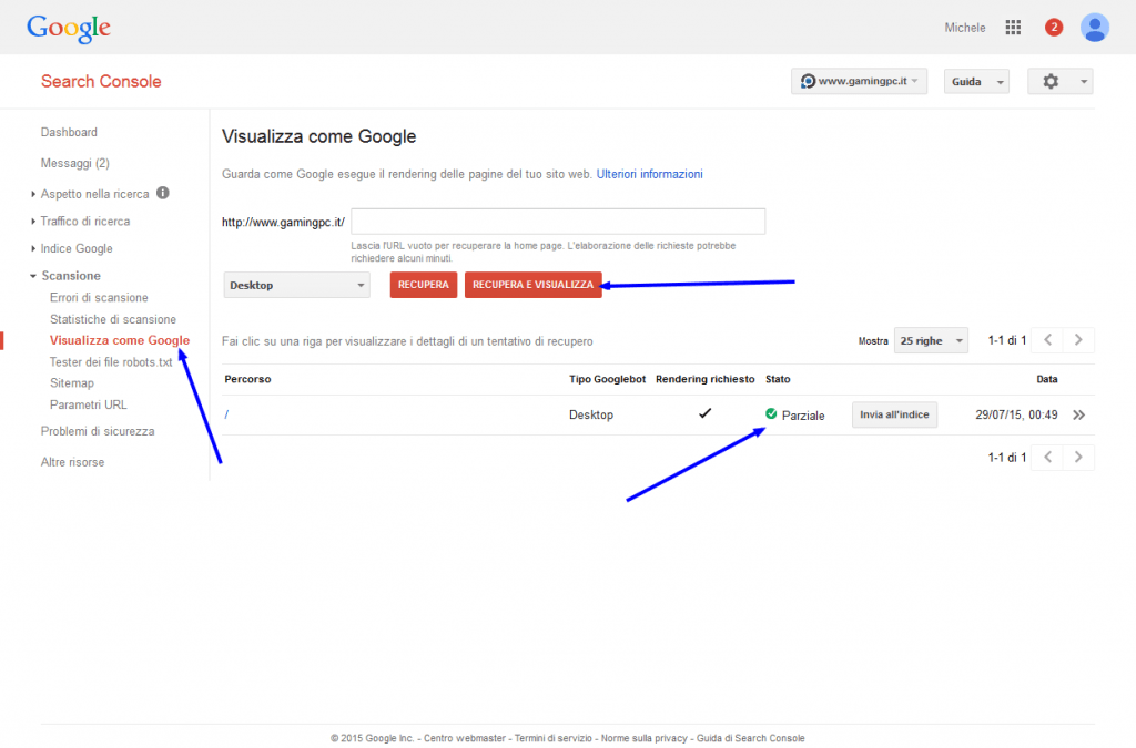 Search Console - Visualizza come Google