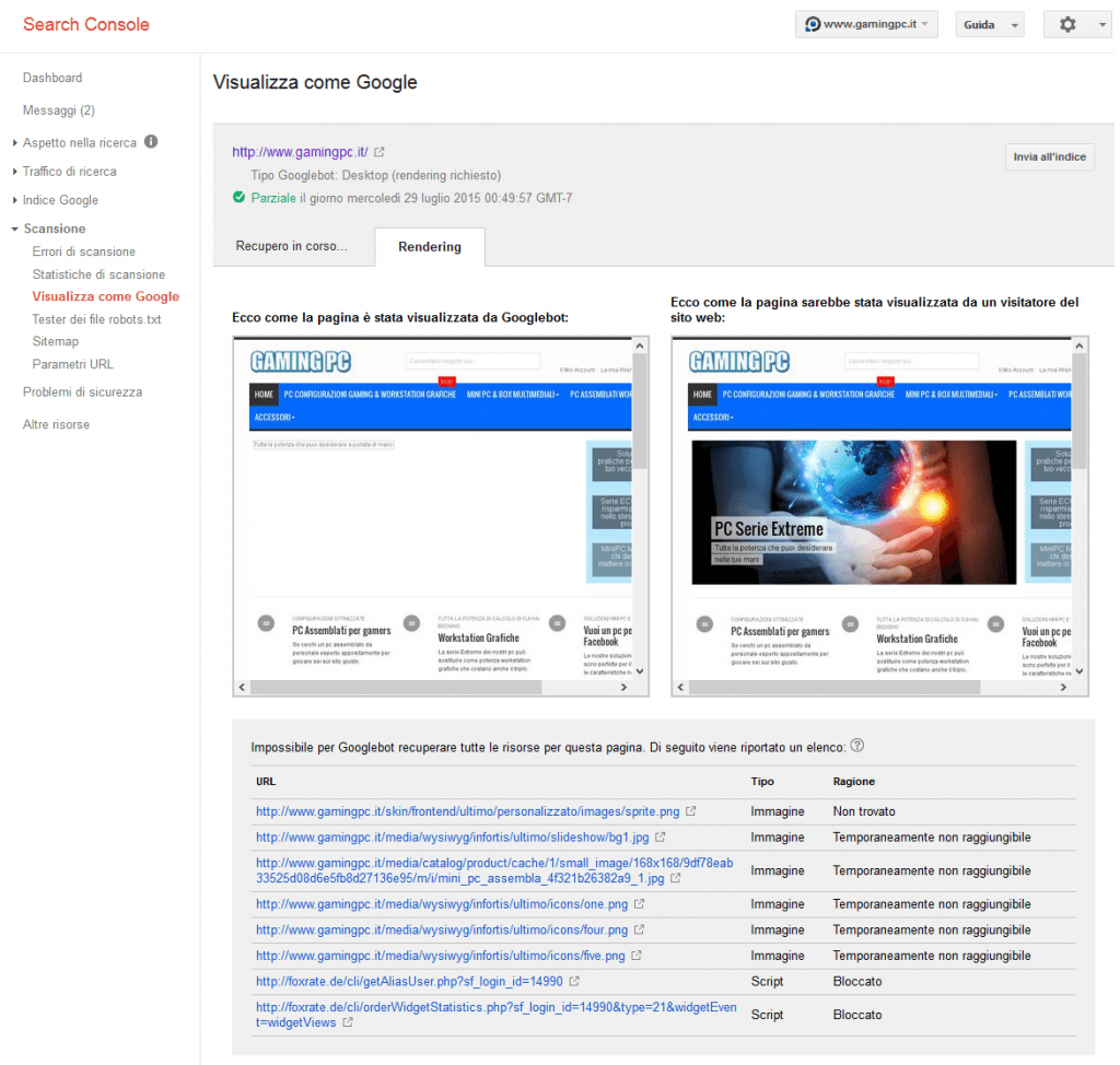 Search Console - Visualizza come Google - esempio fetch